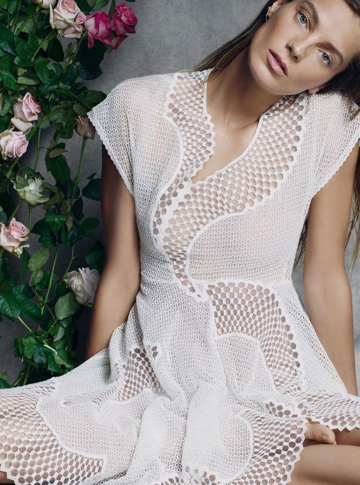 Daria Werbowy models romantic spring looks for Harper's Bazaar UK Magazine May 2016