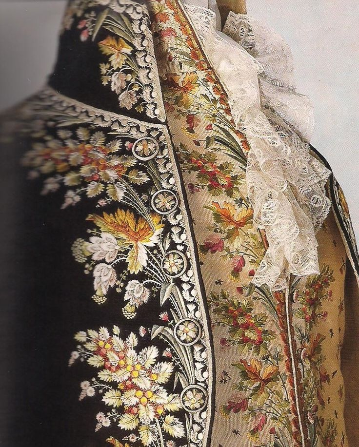rococo gentleman's coat is brightly colored and lavished in embroidery.