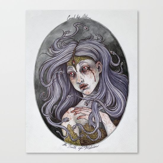 A painting inspired by Ovid's tragic telling of the Medusa myth. <br/> <br/> medusa, myth, mythology, watercolor, illustration, snake, portrait, woman