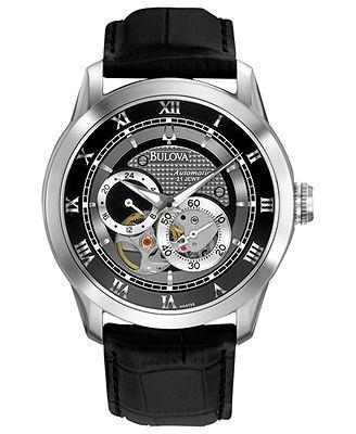 Bulova Watch, Men's Automatic Mechanical Black Leather Strap 42mm 96A135