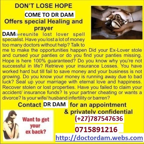 As heard on radios, various newspapers, eye witnesses and on internet, Dam the doc is still the best traditional healer, specializing in: ⦁ Marital problems and Leon magic ring, all kinds of pregnancy problems can be solved at any of our centers. ⦁ Business failure and low financials ⦁ Poor sexual performance in men and women ⦁ Protection of homes and business (work) ⦁ Fertility herbs for quick pregnancie,