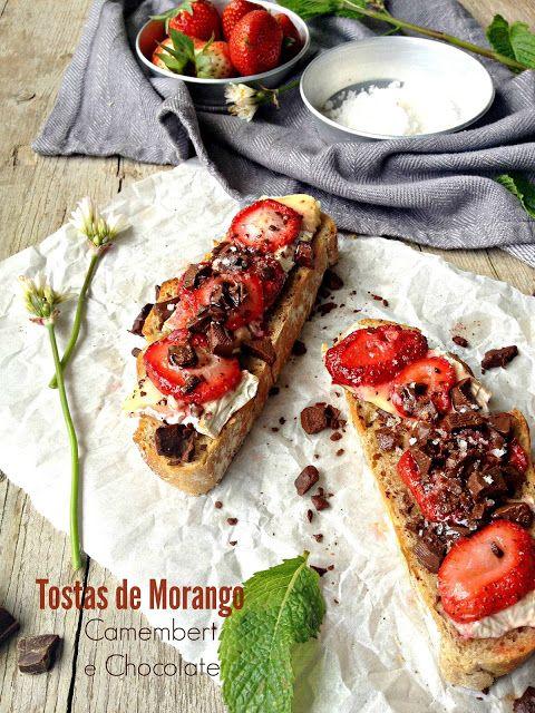 Tostas de Morangos Assados, Camembert e Chocolate - Basta Cheio