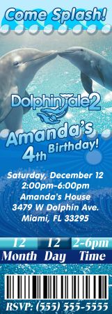 Dolphin Tale 2 Ticket Birthday Invitation