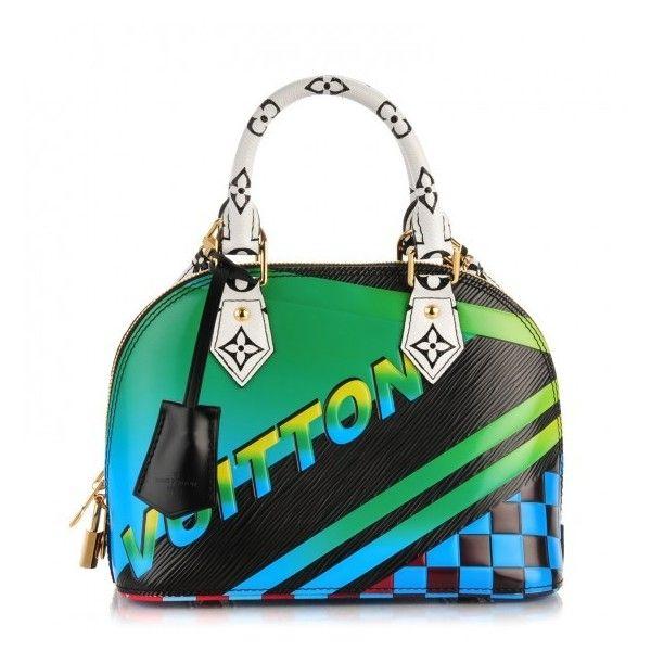 LOUIS VUITTON Epi Race Alma BB Noir Vert ❤ liked on Polyvore featuring bags, handbags, zip top bag, handbag purse, hand bags, checkered bag and white purse