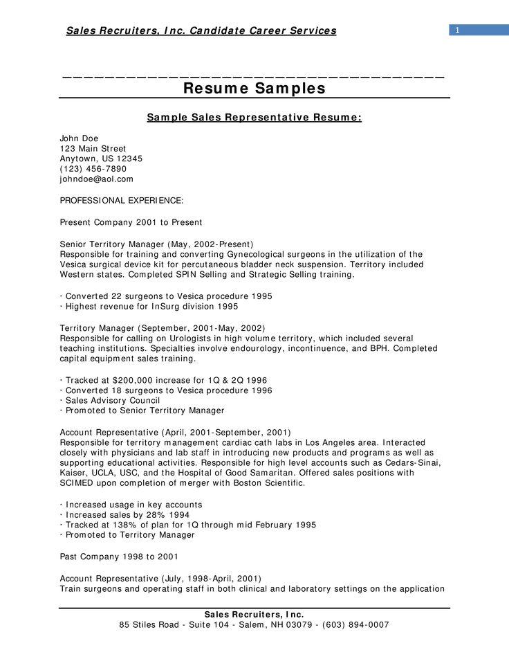 Sample Sales Representative Resume How to draft a Sales