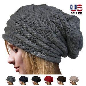 Knit Men's Women's Baggy Beanie Oversize Winter Hat Ski Slouchy Chic Cap Skull | eBay