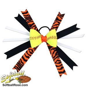 Softball players will stand out when they sport this hair bow at their next game. All hair bows are handmade in our San Diego, California workshop, the same place where we create Softball Roses.  Personalization service available! Add a special message up to 15 characters in length to either side of the softball bow. Choose from 4 different print colors and 2 different font styles