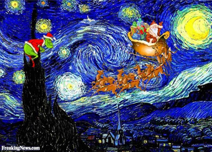 starry night with santa by vincent van gogh sternennacht starry night pinterest van gogh. Black Bedroom Furniture Sets. Home Design Ideas