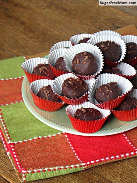 Sugar-Free Chocolate Peanut Butter Fudge Truffles/ sugarfreemom.com (nut free option)