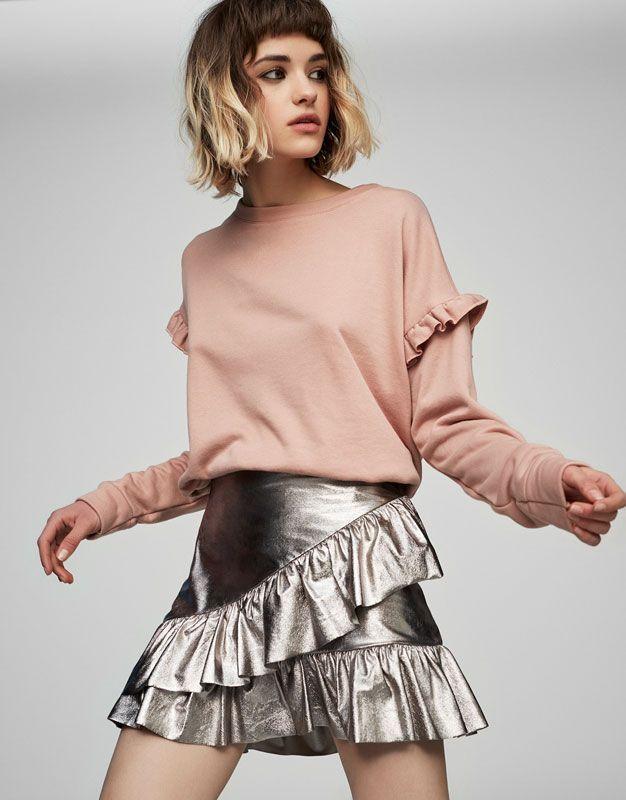 Pull&Bear - dames - kleding - rokken - mnirok metallic met volants - zilver - 05399316-V2017