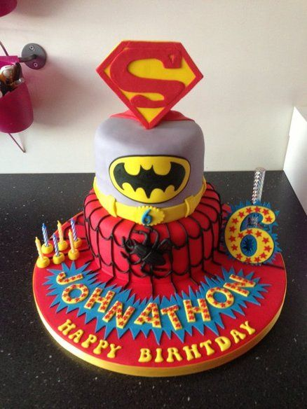 Spiderman, Superman and Batman CakeBirthday Spiderman, Cake Spiderman, Spiderman Superman, Cake Ideas, Cakesdecor Com, Birthday Cake, Cake Decorating, Heroes Cake, Batman Cakes