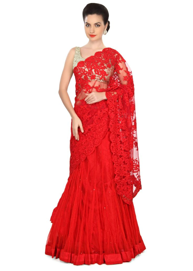 Red lehenga saree embellished in thread embroidery only on Kalki