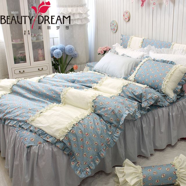 Blue Beige White Striped Boys Bedding Bed Linen Or: Dreaming Cotton Classical Bedding 4pcs Set King Home Small