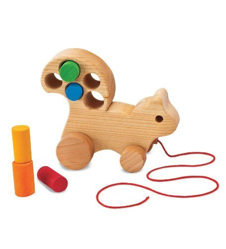 Wooden Pull-Along Squirrel Multi-Use Rolling Toy