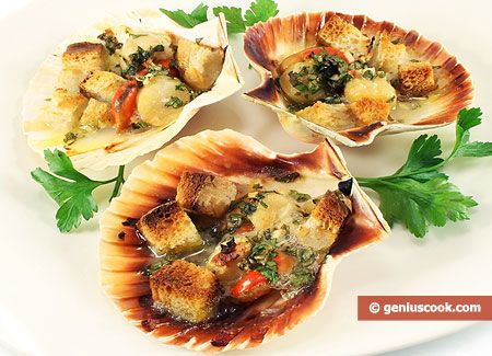 The Recipe for Scallops Baked in Shells | Italian Food Recipes | Genius cook - Healthy Nutrition, Tasty Food, Simple Recipes