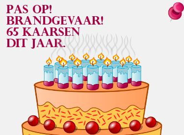 Grappige verjaardagswens: 65 kaarsjes dit jaar! Op Verjaardag-Gedicht.nl