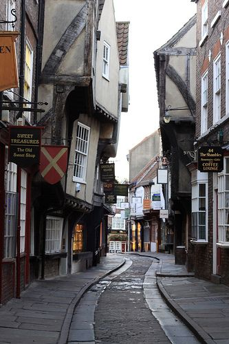 The Shambles in the city of York, Yorkshire; possibly the city's most well-known medieval street