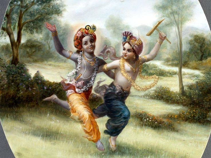 Krishna and Balarama running through Vrndavana forest