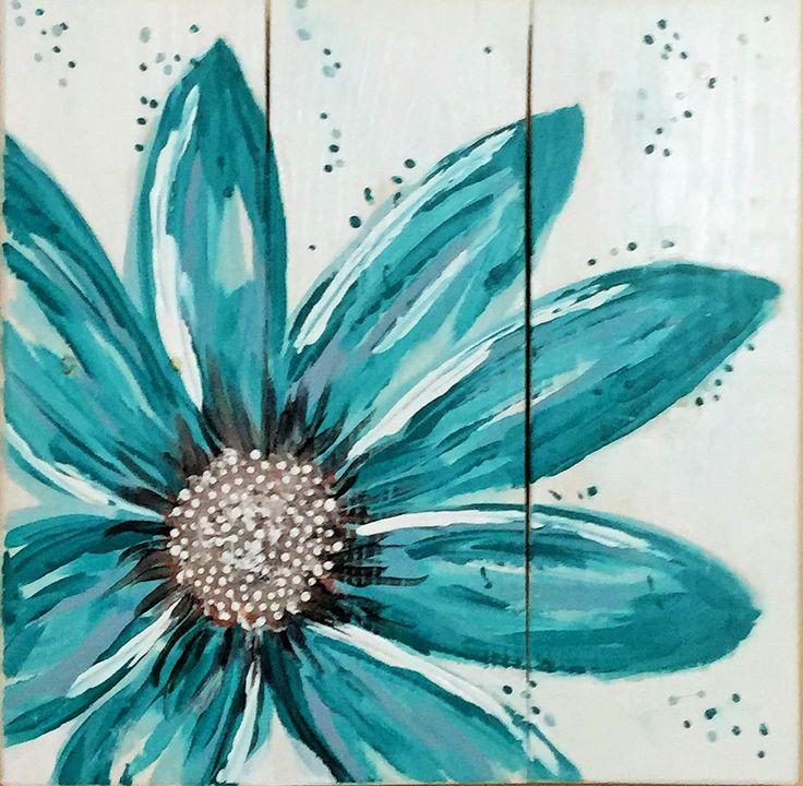 "Turquoise Flower, original art on reclaimed pallet boards.  Measures 17"" X 17"".  Visit our Etsy shop:  ReClaimedPurposed."