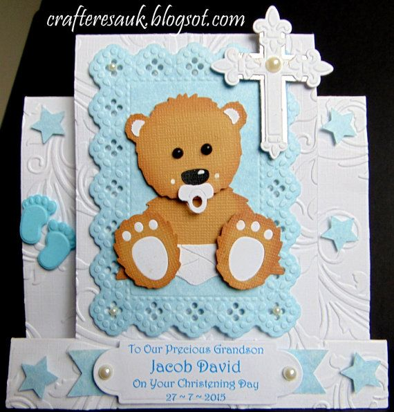 3D BABY BEAR CHRISTENING, Handmade Personalised Baby Boy, Girl, Centre Step Card, New Baby,  Baptism, Dediation, Adoption, Naming,