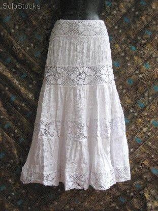Falda Larga Blanca Adlib Faldas Largas De Vestir Faldas Faldas Hippies