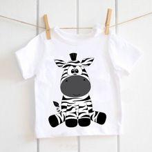 Camisa de Las Muchachas lindas kawaii animal print camiseta modal blanco cebra camiseta de manga corta traje de camiseta para niños activo ETM-R2102(China)