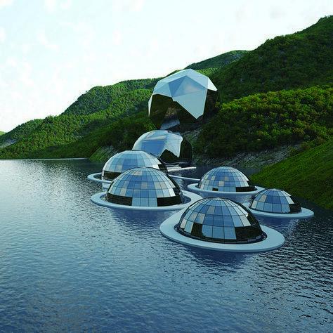 Diese Architektur demonstriert die Integration durch die Form von Blasen, die