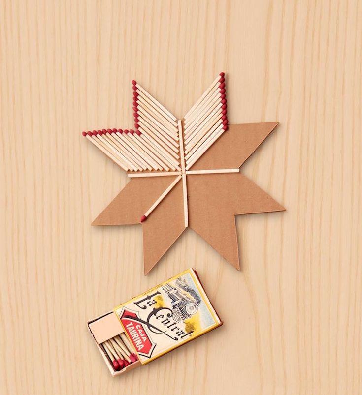 Weihnachtsbaumschmuck selber machen - Stern mit Streichhölzern dekorieren