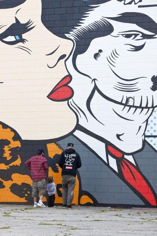 'Fashionable Woman Rides with Death', Comic Book Graffiti Art, by d*face, via Tumblr