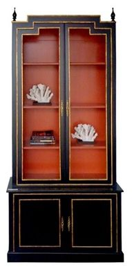 LOVE THIS - perfect for dining room display of Herend Chinese Bouquet Rust!!! black, orange and gold