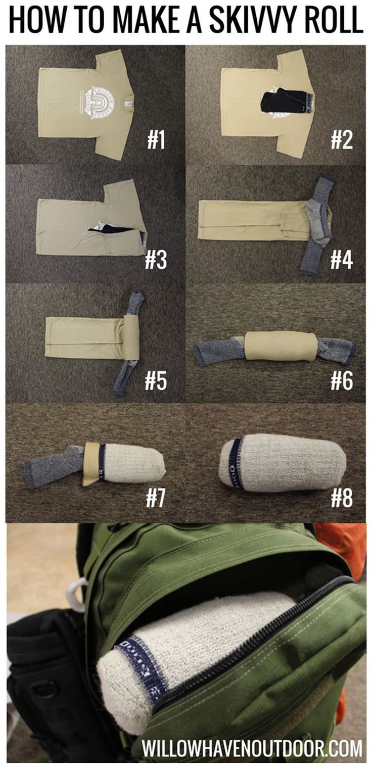How to make a skivvy roll I found this great step-by-step to creating a skivvy roll. This looks like it would be great technique to use for packing a Bug Out Bag (or B.O.B.). Thanks to Creek Stewart for letting me share this with you all. Check out the original post in the link below, it has tons of other strategies for achieving a lighter Bug Out Bag. Found here