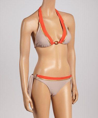 Beige Metallic-Trim Triangle Bikini - Women by Envya Swimwear #zulily #zulilyfinds