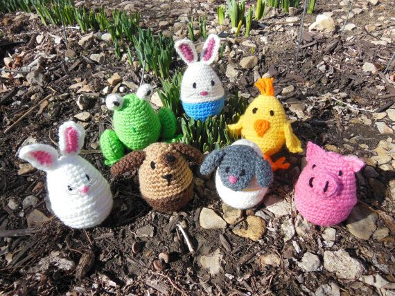Crochet Animal Plastic Easter Egg Covers by TheNimbleKnot on Etsy, $10.00