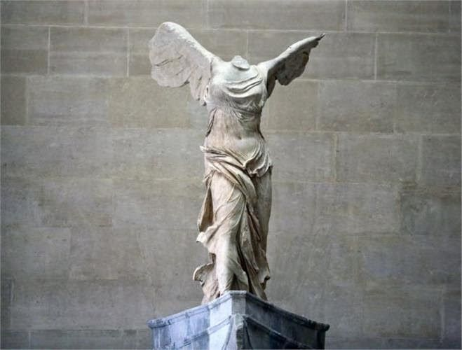 The Winged Victory of Samothrace, c. 190 BCE, a masterpiece of Hellenistic sculpture (it's roughly 18 feet tall!)