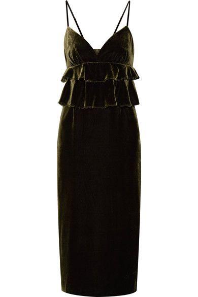 Mother of Pearl - Janette Ruffled Velvet Midi Dress - Army green