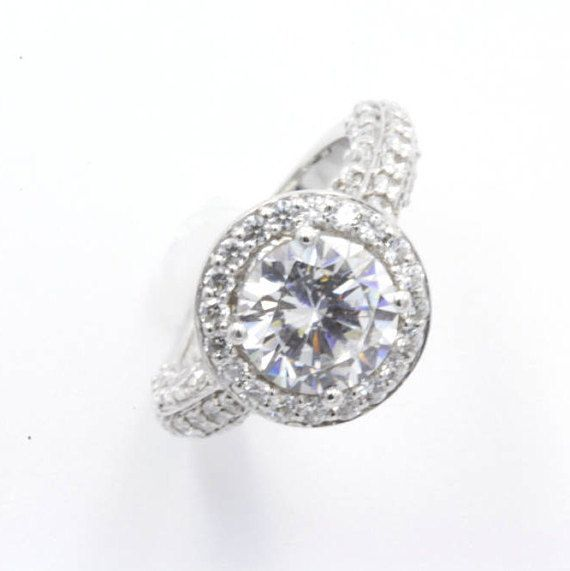 2.25 ct Round Cut CZ Engagement Ring Size 4.5 925 Sterling