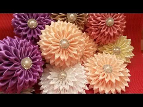 Flores de las cintas Kanzashi, Manualidades - YouTube