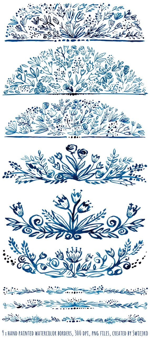 Watercolor, hand painted, floral borders.  It will be beautiful indigo embellishment for all your stationery projects, wedding invitations,