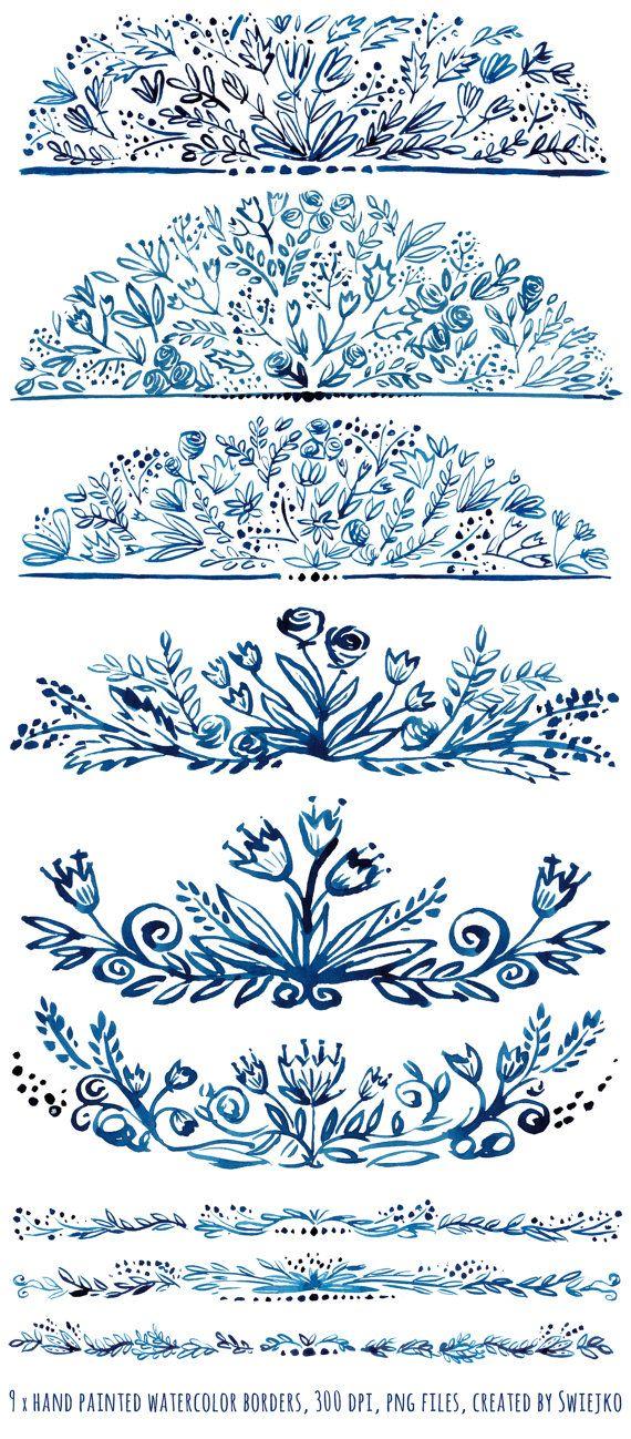 Digital Clipart Watercolor Floral Borders hand by SwiejkoForPrint