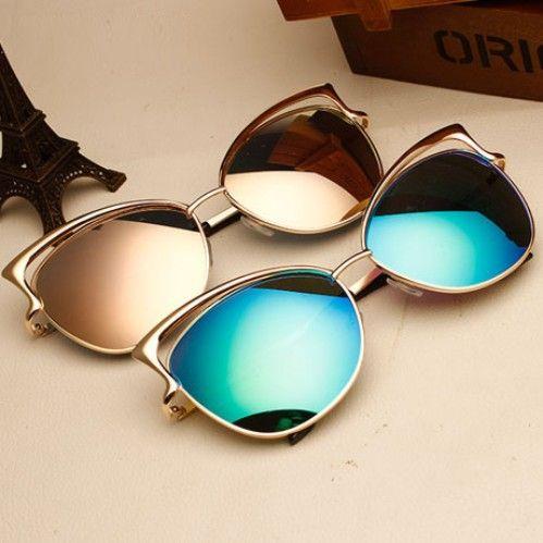 2017 new luxe vintage cat eye lunettes de soleil miroir Sexy rétro de mode vintage marque designer lunettes de soleil pour femmes. oculos de sol.