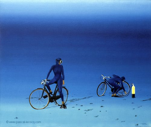 """OLYMPIC GAMES 2012, July 29th: Cycling Road Women's Race  pic: """"CREVE""""  - I've got a flat - oil on canvas by Pascal Lecocq, The Painter of Blue ®, 18""""x22"""" 55 x 46cm, 1997, lec467, private collection Ferney, France. © www.pascal-lecocq.com."""