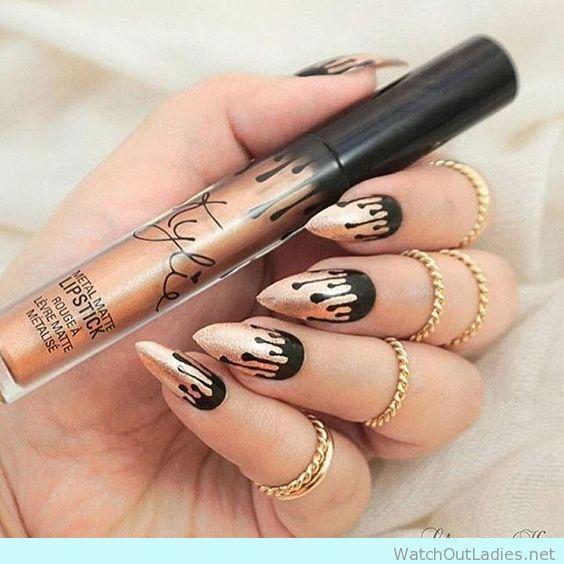 Kylie Jenner lip kit inspired nail art - watchoutladies.net
