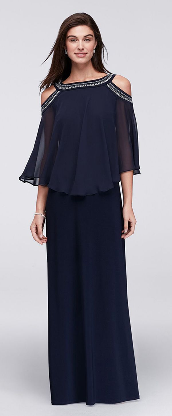 Stunning Chiffon Bateau Neckline Capelet Sleeves Sheath Mother Of The Bride Dresses With Beadings