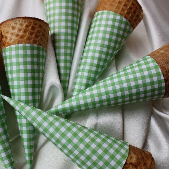 Gingham ice cream cones :): Ice Cream Parties, Paper Cones, Company Picnics, Summer Picnics, Cute Ideas, Summer Parties, Cones Wrappers, Icecream, Ice Cream Cones