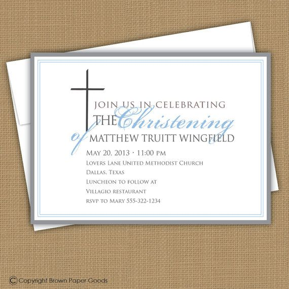 Baptism invitation. Christening announcement. by brownpaperstudios, $15.00