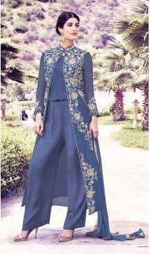 Short Kameez Style Georgette Fabric Party Salwar Suit in Grey Color | FH520078959 #heenastyle , #boutique , #pakistani, #salwar , #kameez , #suit , #dresses , #styles , #fashion , #clothing , #henna , #designs , #mehndi , #more , @heenastyle , #party , #online