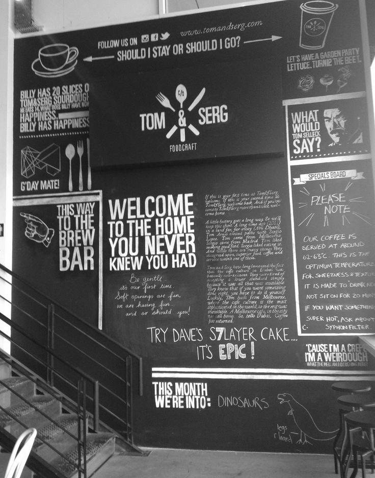 Black board wall at Tom & Serg, Dubai - idea for a wall kitchen
