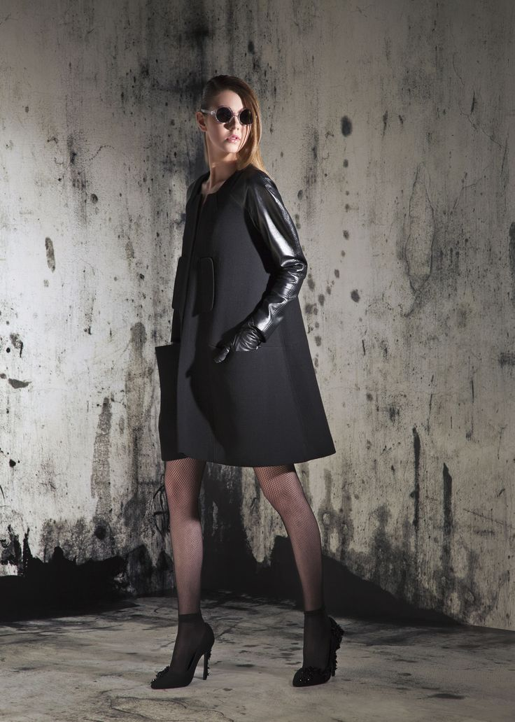 wool coat with leather sleeves winter clothes black fashion