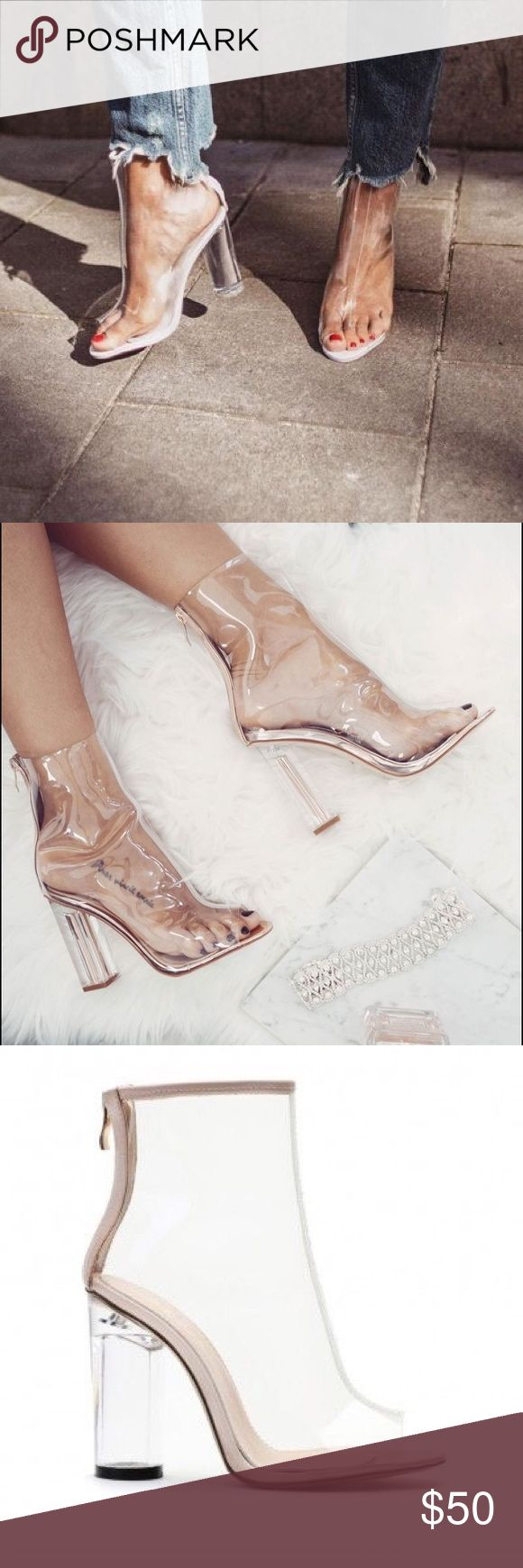 Clear Ankle Boots THIS IS A FLASH SALE!!!✨✨ this listing will only be up for the next 3 hours These Perspex ankle boots are super trendy and great for the summer! Available in a few sizes! Grab them while you can Shoes Ankle Boots & Booties
