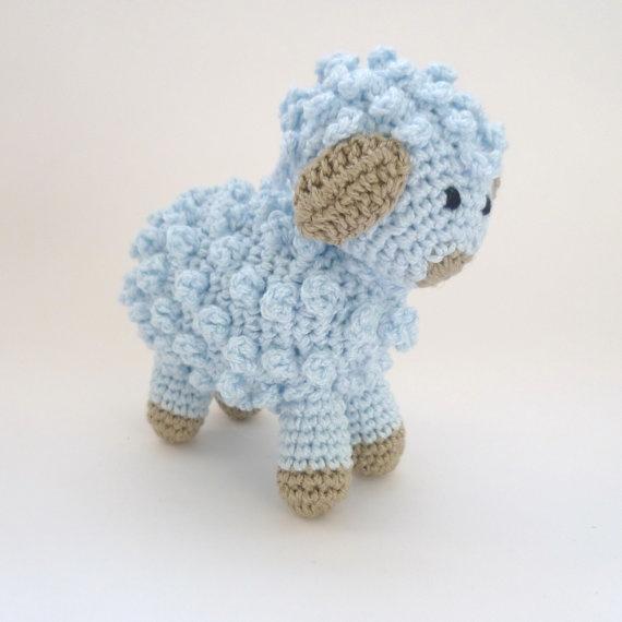 Amigurumi Lamb Crochet : Amigurumi Little Blue Sheep / Lamb Handmade Crocheted Soft ...